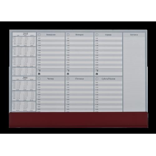 Настольный недельный планинг с календарем, коричневый