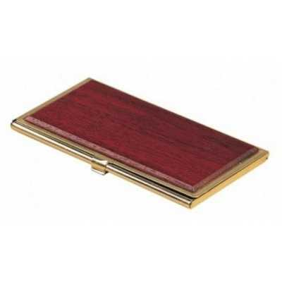 Металевий футляр для візиток, червоне дерево