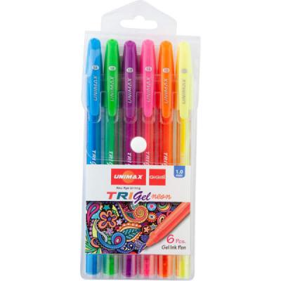 Набор гелевых ручек Trigel Neon, 6 цветов (UX-143)