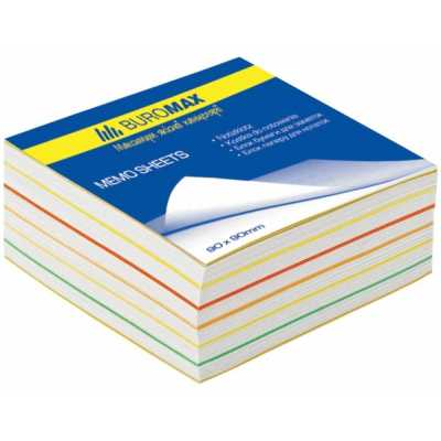 Блок паперу для нотаток Веселка 90х90х40мм склеєний