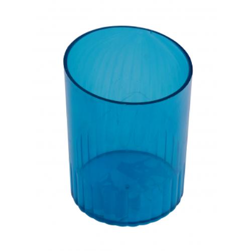 Стакан для ручек пластмассовый синий (81876)