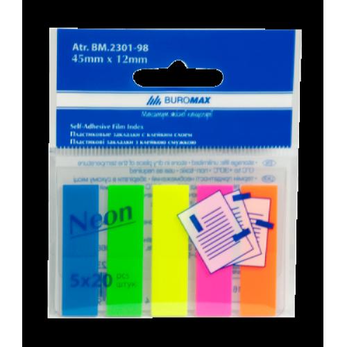 Закладки пластикові з клейким шаром BuroMax (5 кольорів x 20 шт.) (BM.2301-98)