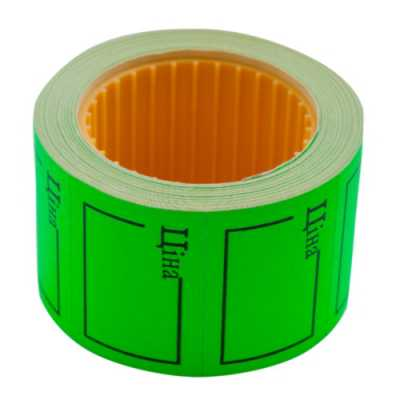 """Ценник 35 * 25мм, """"ЦЕНА"""", (240шт, 6м), прямоугольный, внешняя намотка, зеленый"""