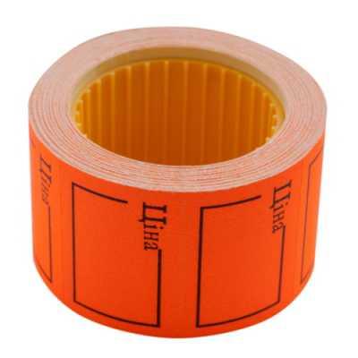 """Ценник 35 * 25мм, """"ЦЕНА"""", (240шт, 6м), прямоугольный, внешняя намотка, оранжевый"""