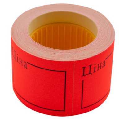 """Ценник 50 * 40мм, """"ЦЕНА"""", (150шт, 6м), прямоугольный, внешняя намотка, красный"""