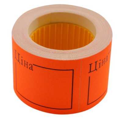"""Ценник 50 * 40мм, """"ЦЕНА"""", (150шт, 6м), прямоугольный, внешняя намотка, оранжевый"""