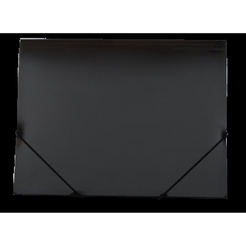 Папка на резинках А4 пластиковая GLOSS, черная