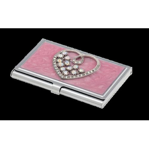 Набір Crystal Heart: ручка + візитниця, рожевий