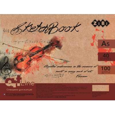 Скетчбук А5, 40 листов, кремовый блок 100 г/м2, ZB.1490