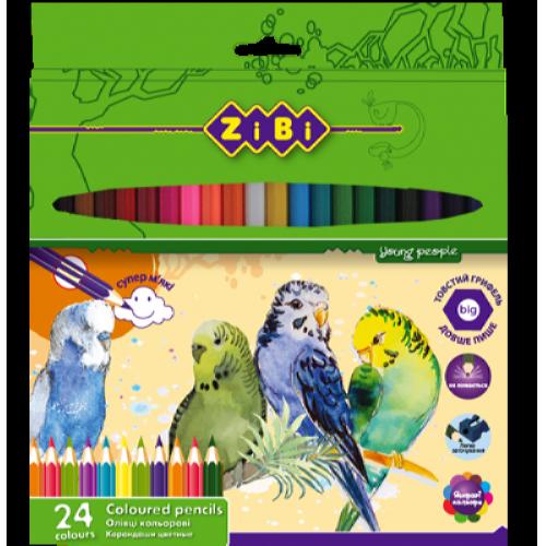 Карандаши цветные Zibi Soft, 24 цвета