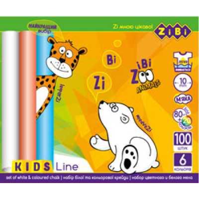 Мел белый+цветной,круглый, 100 шт., карт. Коробка, KIDS Line