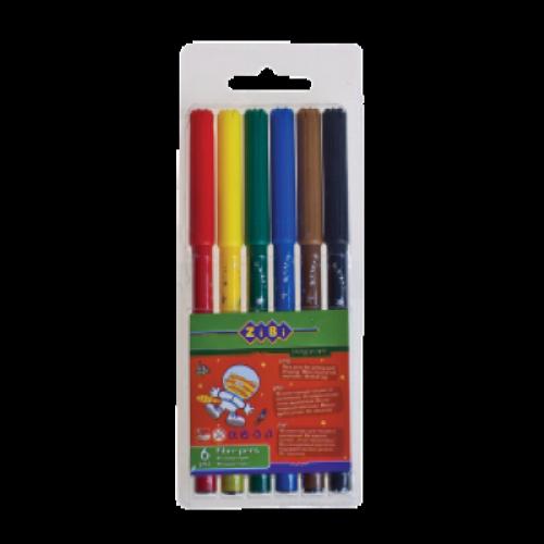 Фломастери 6 кольорів ZiBi
