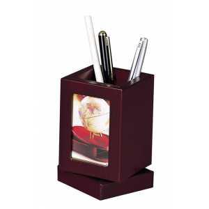 Подставка для ручек с фоторамкой, красное дерево