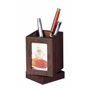 Подставка для ручек с фоторамкой, орех