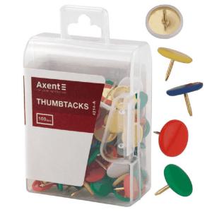 Кнопки цветные Axent 100 шт., пластиковый контейнер (4214-A)