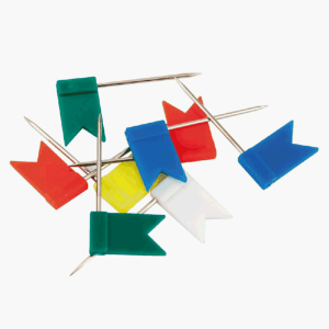 """Кнопки-гвоздики цветные """"флажки"""" Axent 30шт., Пластиковый контейнер (4215-A)"""