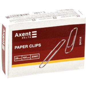 Скрепки Axent оцинкованные, 28 мм, 100 шт. (D4114)