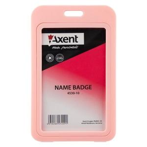 Бейдж вертикальний, PP, рожевий, 4530-10-A (50х85мм)