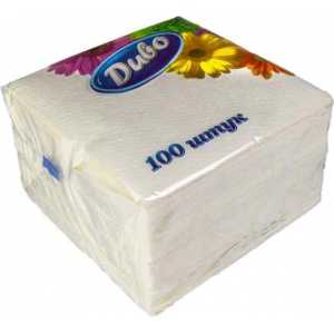 Салфетки 33х33см, 100шт. 1 слойные, белые Диво