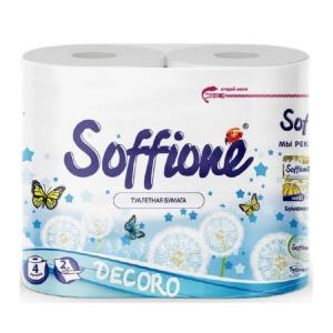 Бумага туалетная Soffione Decoro, 2 слоя, 4рул. бело-голубая