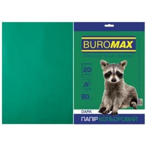 Бумага цветная А4, 80 г/м2, DARK темно-зеленый, 20л.
