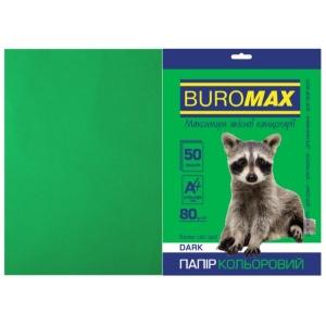 Бумага цветная А4, 80 г/м2, DARK темно-зеленый, 50л.