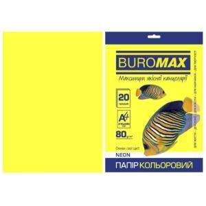 Папір кольоровий А4, 80 г/м2, NEON, жовтий, 20арк.