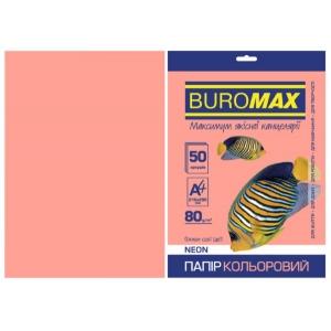 Папір кольоровий А4, 80 г/м2, NEON, рожевий, 50арк.