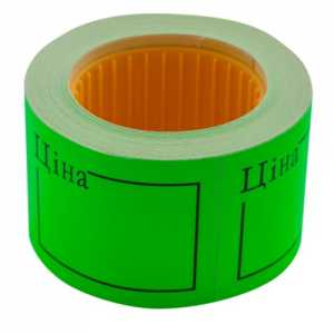 """Ценник 50 * 40мм, """"ЦЕНА"""", (150шт, 6м), прямоугольный, внешняя намотка, зеленый"""