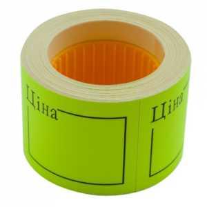 """Ценник 50 * 40мм, """"ЦЕНА"""", (150шт, 6м), прямоугольный, внешняя намотка, желтый"""