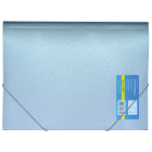 Папка на резинках А4 пластиковая Металлик, серебро
