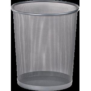 Корзина для бумаг круглая 295x295x345мм, металлическая, серебро