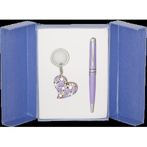 Набор Langres Heart: ручка + брелок, фиолетовый