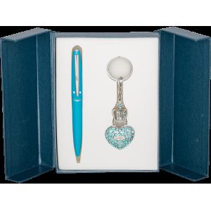 Набор Langres Corona: ручка + брелок, синий