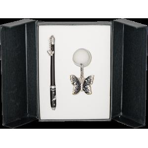 Набор Langres Butterfly: ручка + брелок, черный