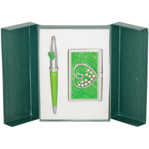 Набор Crystal Heart: ручка + визитница, зеленый