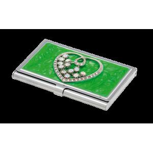 Набір Crystal Heart: ручка + візитниця, зелений