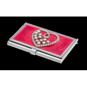 Набор Crystal Heart: ручка + визитница, красный