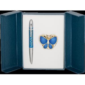 Набор Langres Papillon: ручка + крючок для сумки, синий