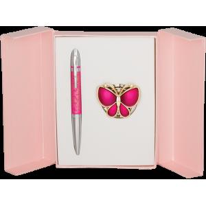 Набор Langres Papillon: ручка + крючок для сумки, розовый