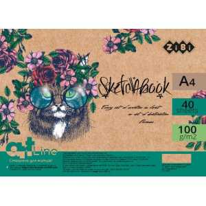 Скетчбук А4, 40 листов, кремовий блок 100 г/м2, ZB.1482