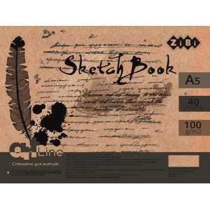 Скетчбук А5, 40 листов, кремовый блок 100 г/м2, ZB.1488