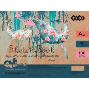 Скетчбук А5, 40 листов, белый блок 100 г/м2, ZB.1494