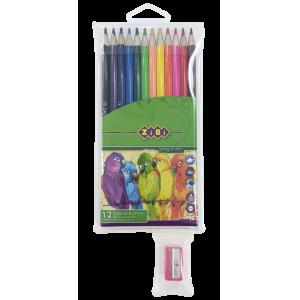 Карандаши цветные Zibi Smooth, 12 цветов, с точилкой