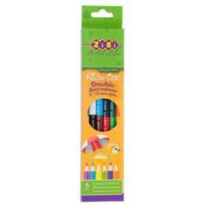 Карандаши цветные двухсторонние, 6 карандашей (12 цветов), Double