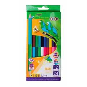 Карандаши цветные двухсторонние Double, 12 карандашей, KIDS Line