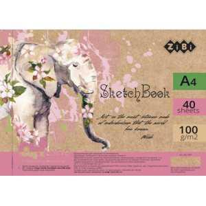 Скетчбук А4, 40 листов, белый блок 100 г/м2, ZB.1487