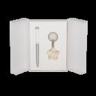 Набор подарочный Langres Rose: ручка шариковая+брелок, белый